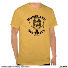 Men's Homeland Security Basic American Apparel Gold Colored T-Shirt. #style #new #guns #defense #alpha #tees