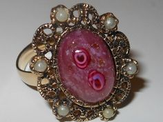 """**SOLD** Vintage 1970s Sarah Coventry """"HIDDEN ROSE"""" Antique Gold Tone Filigree Faux Pearl Glass Cabochon Adjustable Ring wRoses & Sparkles by cherylsvintagebling. Explore more products on http://cherylsvintagebling.etsy.com"""