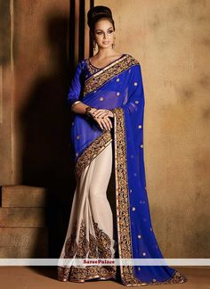 Off White And Royal Blue Shaded Georgette Half And Half Saree