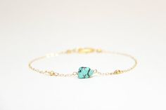 Perfect dainty bracelet with just a touch of turquoise | Ayofemi Jewelry