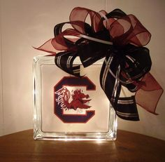 Decorative Gamecock lighted glass block by RibbonsGoneWild on Etsy Graduation Party Themes, Graduation Cap Designs, Grad Parties, School Spirit Crafts, Glass Block Crafts, Lighted Glass Blocks, Personalized Graduation Gifts, Light Crafts, Cricut Tutorials