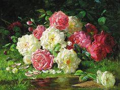 Still Life With Roses, by Abbott Fuller Graves (mid 1800's)