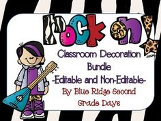This set includes all of my Rock On Classroom decoration items.  Many of these are editable to suit your classroom needs.This Rock On behavior clip chart comes in a large 1 page per part and smaller version (2 areas on 1 page).  This chart includes the following categories:-Rock On (top level)-Great Job-Good Job-Ready To Learn-Think About It-Teacher's Choice-Parent ContactThis set includes a number of the day, word wall headers, and alphabet header cards in 2 different fonts and formats.