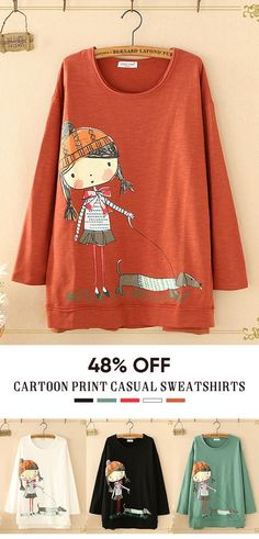 buy popular eb5f2 093b1 O-neck Cartoon Print Long Sleeve Casual Sweatshirts. Beautiful Outfits,  Cool Outfits,