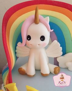 Unicorn 3D Cake Topper fondant by KuDiCakes on Etsy