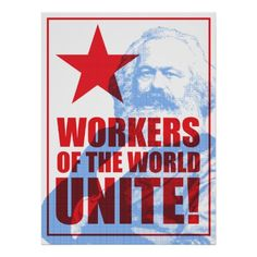 Karl Marx Workers of the World Unite! Portrait Poster #political #posters