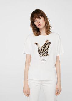 Bawełniana koszulka z napisem   MANGO
