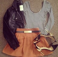 Leather jacket, scoop neck top with horizontal strips, frilly skirt and sexy strap sandals