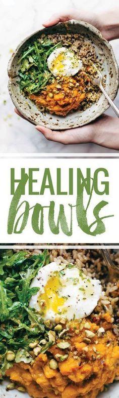 Healing Bowls: turmeric sweet potatoes, brown rice, red quinoa, arugula, poached egg, lemon dressing. #bowl #sweetpotato #healthy #superfoods #vegetarian | pinchofyum.com