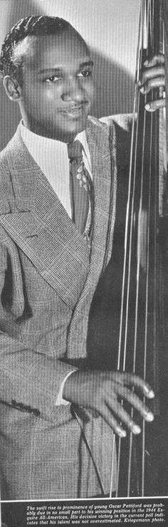 """Oscar Pettiford : """"The bass is one of the most important, if not the most important, instruments in any orchestra. You don't need piano or drums. The bass can be much more a horn that it has often been in the past. When I finish, the bass will be right down front were it belongs."""" - Says OP in a 1957 interview with Nat Hentoff."""