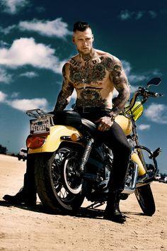 Canadian firefighter and fitness model Marshall Perrin Hot Guys Tattoos, Boy Tattoos, Bad Boys, Marshall Perrin, Marshall Lee, Sexy Biker Men, Poses, Sexy Tattooed Men, Hot Guys