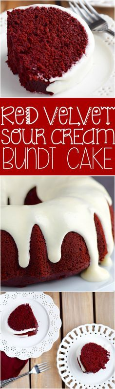 This Red Velvet Sour Cream Bundt Cake with Cream Cheese Buttermilk Frosting is moist, rich, and packed with them most amazing flavor.: