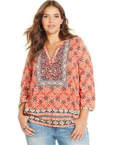 Lucky Brand Plus Size Floral-Print Peasant Top - Trendy Plus Sizes - Plus Sizes - Macy's