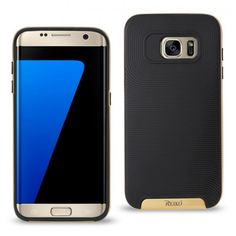 Reiko Samsung Galaxy S7 Edge Solid Armor Protector Case Black Gold With Bumper F #Unspecified