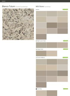 Blanco Tulum. Granite Countertops. Countertops. MSI Stone. Behr. Ralph Lauren Paint. Valspar Paint. Sherwin Williams. Dutch Boy.  Click the gray Visit button to see the matching paint names.