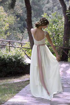 """Böhmische Hochzeit Kleid lang Boho Bridal Hochzeitskleid Kleid """"Zigeuner"""" lange Hochzeits Elfenbein - handgemacht von SuzannaM Designs"""