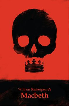 Since we were studying layout i thought it would be good to post a pin on this. This macbeth poster represents several themes: ambition because the skull has a crown as a mouth, power because of the crown and death because of the skull. The colors play a major role because red is the color of blood/evil and black of night/darnkess and we know that blood and darkness are important images.
