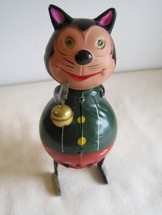 Vintage Windup Tin Litho Toy Cat Kitten w Celluloid Head Made in Occupied Japan