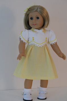 Yellow and White 1930's Frock for Kit or Ruthie by BabiesArtUs