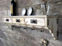 Distressed Wood Shelf - Coat Rack - Shabby Cottage - Antique Furniture - Rustic Shelf - Cottage Chic. $249.00, via Etsy.