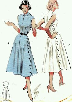 Love it all. Scallop detail. Blouse. Fit. Try contrasting top part and skirt Robes Pin Up, 1950s Dress Patterns, Vintage Sewing Patterns, Clothing Patterns, Pattern Fashion, Dress Vintage, Robes Vintage, Vintage Outfits, Vintage Clothing