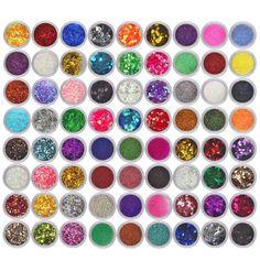Pretty New Fashion 72 Colors Gel Varnish Spangle Glitter Nail Art Paillette Acrylic UV Powder Polish Tips Set shipping Body Glitter, Glitter Nail Art, 3d Nail Art, Nail Art Tools, 3d Nails, Cool Nail Art, Nail Manicure, Art 3d, Glitter Mirror