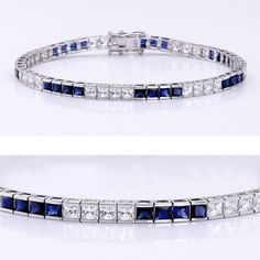 This classic cubic zirconia tennis bracelet features 0.13 carat each (3mm) princess cut alternating with synthetic sapphires in a 14k white gold channel setting. An approximate 7.75 total carat weight. This high quality cubic zirconia bracelet is 7 inches long, also available in different lengths via special order. Cubic zirconia weights refer to equivalent diamond carat size.