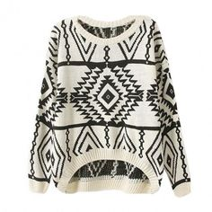 New Fashion Women Loose Sweater Geometry Design Printed Long Sleeve Pullovers Big Size