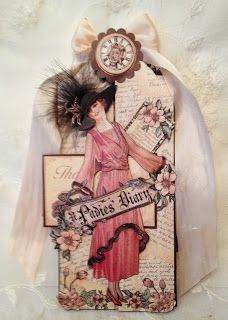 G45 A Ladies Diary Tag Card book mark and photo display by Anne rostad. Base tutorial on my blog and here is the link, http://www.annespapercreations.com/2014/05/a-ladies-diary-card-book-mark-and-photo.html#comment-form