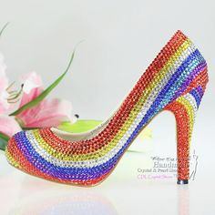 [ Shoes Woman Platform Pumps High Heels Crystal Rainbow Wedding Shoes 15 ] - Best Free Home Design Idea & Inspiration Rainbow Wedding Shoes, Rainbow Heels, Platform Pumps, High Heel Pumps, Shoes Heels, Flats, Pearl Shoes, Crystal Shoes, Leather High Heels