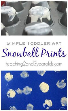 Here is a super simple toddler activity for winter. Toddlers love to paint, and when they paint on the bottoms of muffin tins, they can make snowball art! Teaching 2 and 3 Year Olds