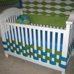 I really like the idea of using woven, wide ribbon as an alternative to a bed skirt, especially when used with a white crib. It provides a lovely pop of color!