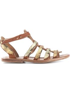 Dimissianos & Miller Wooden Sole Gladiator Sandals Brown and gold-tone leather wooden sole gladiator sandals from Dimissianos & Miller. Trovato su Styletorch