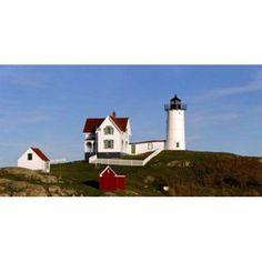Lighthouse on the hill Cape Neddick Lighthouse Cape Neddick York Maine USA Canvas Art - Panoramic Images (36 x 19)