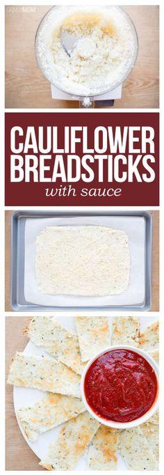 Cauliflower Breadsticks - a delicious, healthy alternative to cheesy breadsticks!