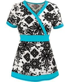 Black and White Bandana Print Women's Scrub Top with Blue Trim