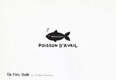 Watercolor Hand Drawn Style Fish Logo Design by Madame Levasseur, The Paris Studio