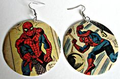 The Original Upcycled Vintage Comic Book Earrings by Customcomix, spidey!