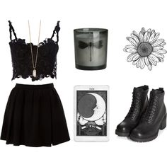 lace crop top, black skirt & high heel combat boots