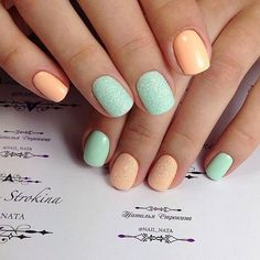Colorful nails, Fun summer nails, Nails with orange color, Sandy nails, Short nail designs 2016, Summer nails 2017, Turquoise and pink nails, Two color nails