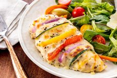 Primavera Stuffed Chicken  - Delish.com Pollo Relleno, Stuffed Chicken, Keto Chicken, Chicken Recipes, Turkey Recipes, Gluten Free Recipes, Low Carb Recipes, Healthy Recipes, Cooking Recipes