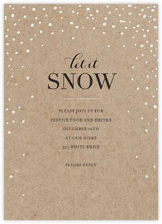 Let It Snow Christmas Party Invitation