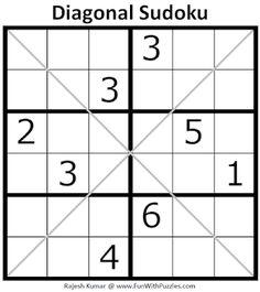 Diagonal Sudoku Puzzle (Mini Sudoku Series #107) Sudoku Puzzles, Crossword Puzzles, Logic Puzzles, Printable Puzzles For Kids, English Worksheets For Kids, Brain Games, Brain Teasers, Mini, Blog