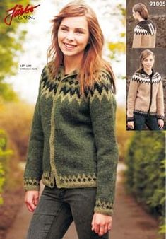 Mönster 91005 damkofta med luva i Lett Lopi Fair Isle Knitting, Spool Knitting, Icelandic Sweaters, Nordic Sweater, Knitting Patterns, Sweater Patterns, Knitting Ideas, Hooded Cardigan, Knit Crochet