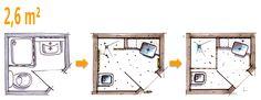 Bathroom planning: Top wash basin in corner Bathroom Plans, Bathroom Layout, Small Bathroom, Vanity Bathroom, Corner Basin, Mini Bad, Student House, Other Rooms, House Floor Plans