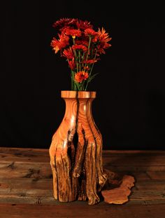 Rustic Log Vase Tamarisk Wood Home Décor Accent by TheRusticNature