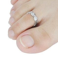 Jane Stone Fashion Flower Shape Silver Color Beach Toe Ring Vintage Statement Jewelry