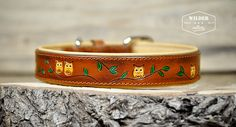 *Sweet Owl* Leather Dog Collar from Wilder-Collars