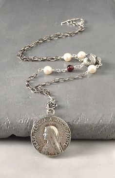 Saint Teresa Little Flower Catholic Jewelry by FifteenMagpieLane on Etsy