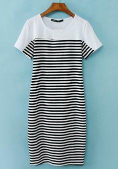 Black White Striped Short Sleeve Straight Dress